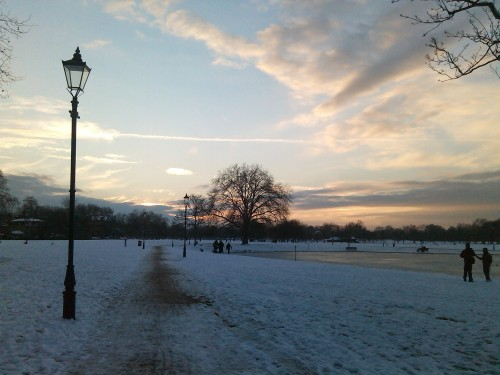 Clapham Common, just before sunset.