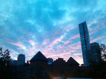 Boston skyline at dusk, August 2012.